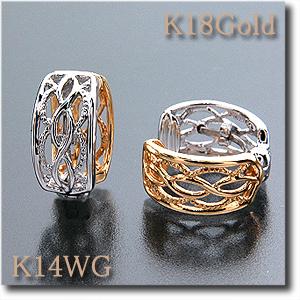 イヤリング ピアリングK18(ゴールド)&K14WG(ホワイトゴールド)ミル打ち透かしのこだわりデザイン! リバーシブルでどんなシーンでも重宝します gold/k18/18金 k14/14金【送料無料】 10P05Dec15 10P03Dec16