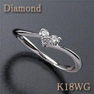 ピンキーリング ダイヤモンド0.08ct K18WG(ホワイトゴールド) 洗練されたウェーブ&ハートのダイヤ 【K18PG8(ピンクゴールド)作製可能】 k18/18金【送料無料】 10P03Dec16