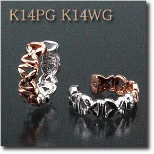 耳の痛くないイヤリング【ピアリング】K14PG(ピンクゴールド)&K14WG(ホワイトゴールド)リバーシブルタイプ 一番ニーズの高い大きさです! シンプルで使いやすい♪ NEWデザインのピアリングk14/14金【送料無料】 10P03Dec16