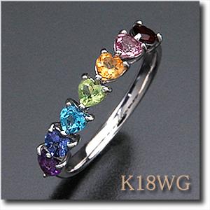 マルチストーンリング K18WG(ホワイトゴールド) K18PG(ピンクゴールド) レインボーカラー 7つのハートが並ぶ カラーストーンリングk18/18金 【送料無料】 10P03Dec16