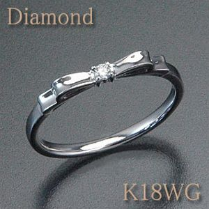 ダイヤモンド リボンリング K18WG(ホワイトゴールド) 横から見ても美しいリボンモチーフ! k18/18金【送料無料】 10P03Dec16