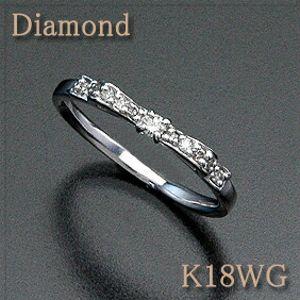 ダイヤモンド リボンリング【ピンキーリング】 K18WG(ホワイトゴールド) 横から見ても美しいリボンモチーフ! 【18金 リング】【送料無料】 10P03Dec16