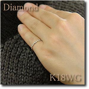 ダイヤモンドピンキーリング ダイヤモンド0 07ct K18WG ホワイトゴールドハーフエタニティータイプ 人気のアンティーク調デザイン エタニティータイプ アンティーク k18 18金 送料無料10P03Dec16tQdsChr