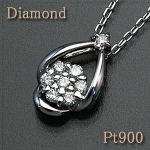ダイヤモンド ペンダントネックレス しずくに包まれたようなダイヤモンドフラワーが輝く Pt900/850(プラチナ) 【花】【送料無料】 10P03Dec16