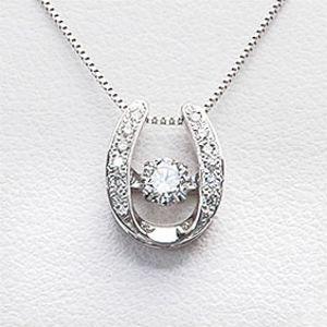 ダンシングストーン Dancing Stone [馬蹄]【鑑定書付】ダイヤモンドネックレス 0.20ctUP VVS-2 Fカラー H&C 3EX (メレダイヤモンド 約0.07ct) Pt900/Pt850(プラチナ)【クロスフォー】【送料無料】 10P03Dec16