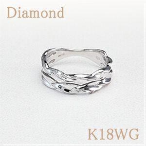 ピンキーリング<Twist>  ダイヤモンド/K18WG(ホワイトゴールド) 立体的な曲線がつくる模様が何とも言えない 美しさを演出!【送料無料】 小指/波/ウェーブ 10P03Dec16