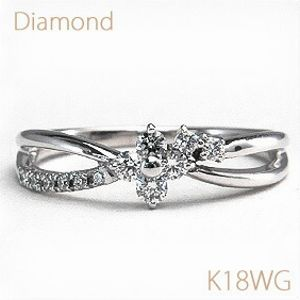 ダイヤモンドフラワー ダブルラインリング フラワーモチーフダイヤと 重ねづけしているようなダブルラインデザインが 華やかさを演出 ダイヤモンド 合計約0.20ct K18WG(ホワイトゴールド) 【送料無料】【18金 リング】【指輪/フラワー】