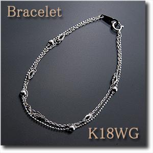 ブレスレット K18WG(ホワイトゴールド)シンプルだけど個性的! 2連タイプ k18/18金【送料無料】 10P03Dec16