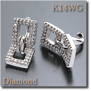 イヤリング ピアリング ダイヤモンド 0.480ct K14WG(ホワイトゴールド) 下のダイヤモンドチャームが動きます! ゆらゆら揺れるデザインk14/14金【送料無料】10P05Sep15 10P03Dec16