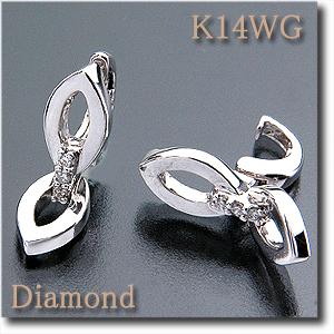 イヤリング ピアリング ダイヤモンド 0.04ct K14WG(ホワイトゴールド) ダイヤモンドで繋がれた下のチャームが動きます! ゆらゆら揺れるデザイン【k14/14金】【送料無料】 10P03Dec16