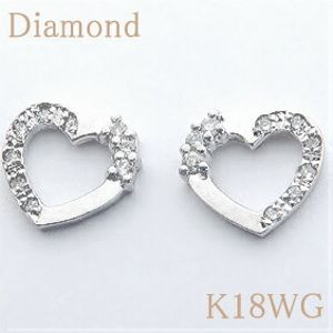 ダイヤモンド約0.12ct K18WGハート ピアス 【送料無料】 10P03Dec16