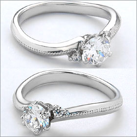 婚約指輪 エンゲージリング!  卸直営!ダイヤモンド 0.307ct  Dカラー VVS2 EXCELLENT H&C 3EX   プラチナ(Pt900)鑑定書付き ラウンドブリリアント メレ 立て爪
