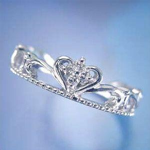 ハートクラウンモチーフリング ダイヤモンド0.03ct Pt900(プラチナ) 王冠/ティアラ PT/pt 【送料無料】 10P03Dec16