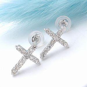 オーダー作成品 ホワイトゴールド(K18WG)&ダイヤモンド0.3ct クロスモチーフピアス 【送料無料】 10P03Dec16