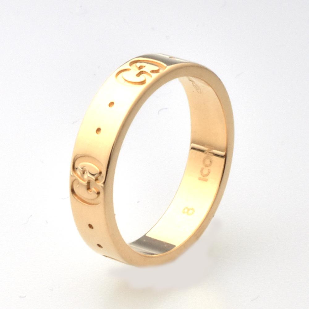 グッチのアイコンリング ピンクゴールドで洗練されたデザインのリング GUCCI グッチ アイコンリング Icon ご注文で当日配送 thin K18PG SALE 送料無料 指輪 中古 band 8号 ピンクゴールド