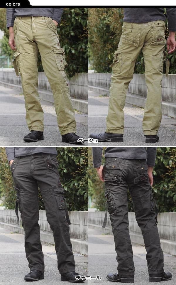 B.W.CHENG 双口袋货物裤男装男式米色竹炭棉
