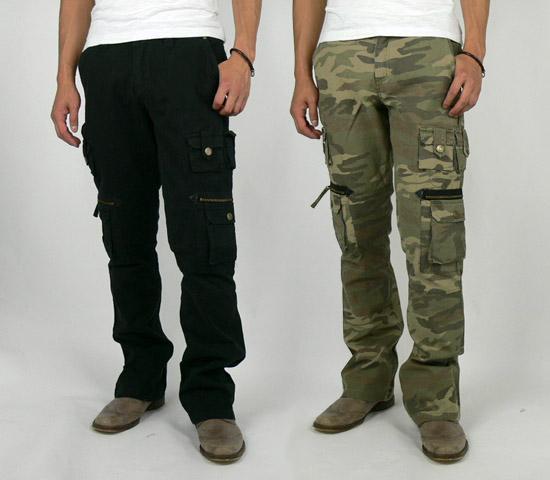 diablos  Acid Jazz Men boot cut cargo pants (6006) black Army Green ... 5fe4b4be70a