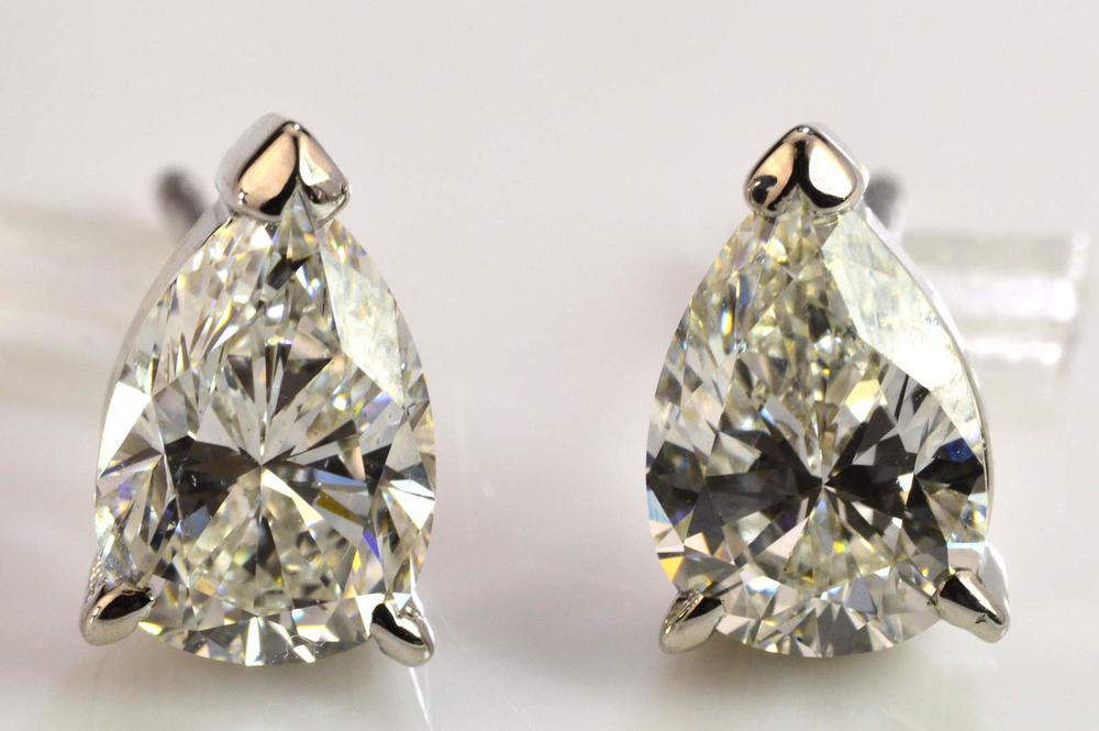 earrings wh p diamond round stud gold white carat ct w diamonds