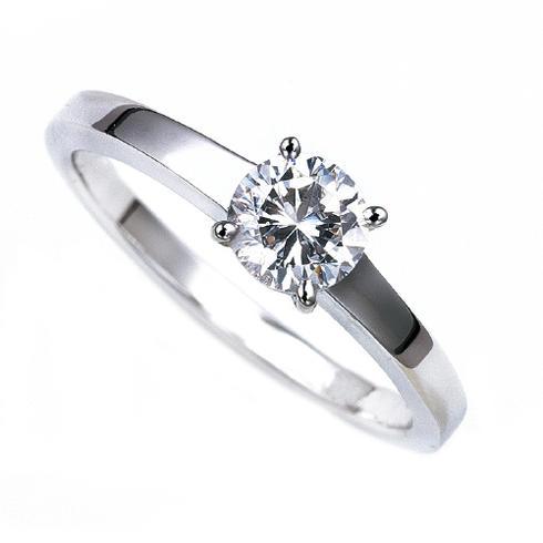 【リング空枠シンプル】ダイヤモンドの形は四角いカット スクエア ラウンドブリリアントカット 0.5カラット用 プラチナ枠