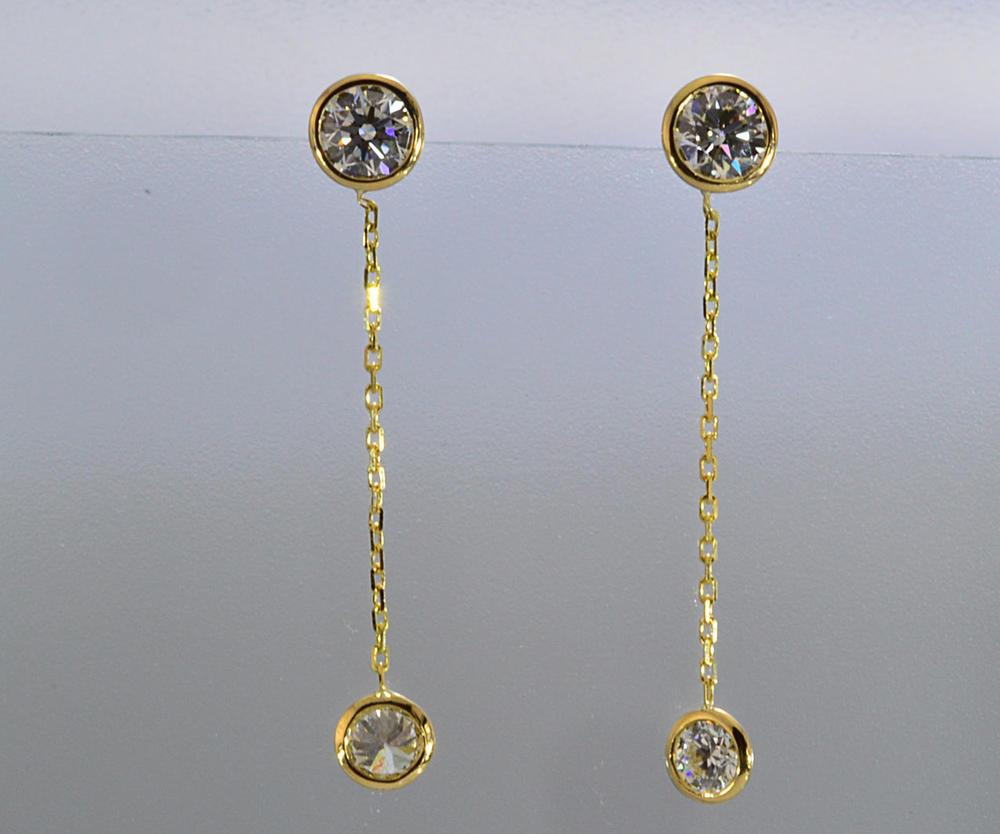 ハート&キューピッドダイヤのゆれるダイヤピアス0.3カラットイエローゴールドチェーンの長さは自由にお作り出来ます! トータル約1カラットダイヤピアス