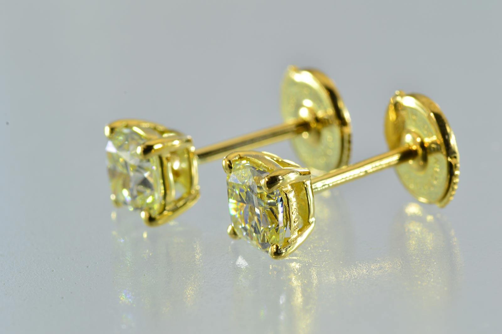 Very Por One 1 Carat Diamond Earrings Cushion Cut M Color Vvs Hannari Lemon Yellow Is Yg Gently Sparkling