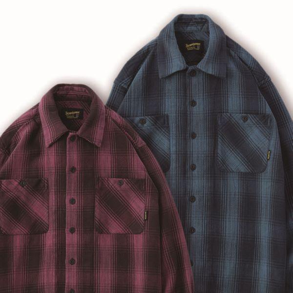 BLUCO ブルコ HEAVY NEL SHIRTS -ombre check- ヘビーネルシャツ オンブレチェック OL-047