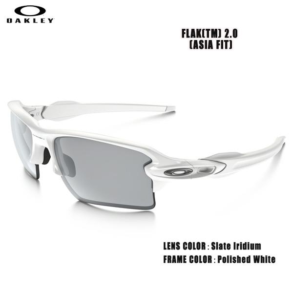 スポーツ サングラス アイウェア オークリー OAKLEY FLAK2.0 フラック2.0 ASIAN FIT Polished White/Slate Iridium