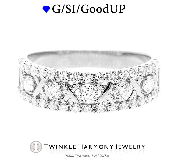 無色透明 G 完全送料無料 SI Good UP イタリア語で メッシュ の意味を持つTHJ Maglia Ring その名の通り 繊細な編み物の間にセットされたダイヤモンドの眩いばかりの輝きは想像以上のもの☆ 高品質SIクラス以上 D0.7ct エタニティリング 人気の定番 ファランジリング ダイヤモンド THJ9周年 ポイント5倍+クーポン Magliaリング THJ 0.7ct プラチナ900
