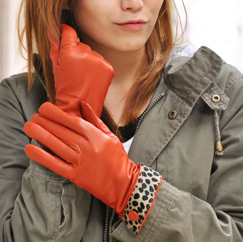革手袋 手袋 レザーグローブ レディース カフスデザイン イタリア製 Antonio Murolo レオパード柄 アニマル柄 皮手袋 暖かい 防寒 おしゃれ ギフト