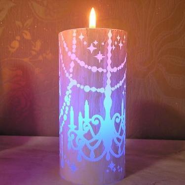 専門店 不思議なキャンドル LEDピラーキャンドル 激安通販専門店 シャンデリアキャンドルとLEDのコラボ火を灯すとLEDが点灯し7色に光ります