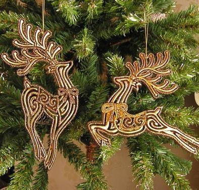 クリスマスマーケット セール 超激安特価 クリスマスの演出に 送料無料 定形外郵便 人気 おすすめ クリスマス雑貨 オーナメント ゴールドフリンジトナカイ Gold ラメ入りトナカイオーナメントエレガントな Reindeer Ornament ディスプレー 2コセット クリスマス