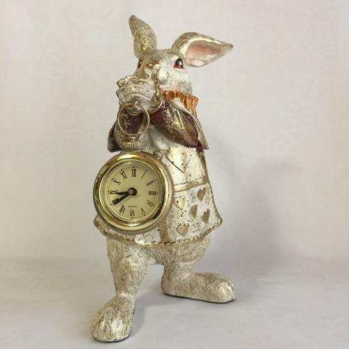 インテリア 雑貨 不思議の国のアリス うさぎ 置物 アンティーク調 オブジェ バロックラビット お店のディスプレーに 大人気 時計を持った インテリアに アリスクロック 玄関やリビング 保障 アンティーク調の置物 ウサギのオブジェ