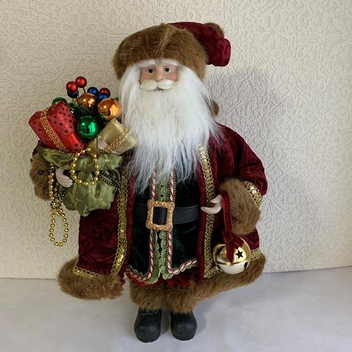 【クリスマス雑貨】サンタフィギュア レッドマントプレゼント 大きな鈴とプレゼントを持ったサンタクロース人形 クリスマスのインテリアに!玄関やリビング、お店のディスプレーに♪【送料無料】 (北海道¥1,500/沖縄¥2,000送料別途)