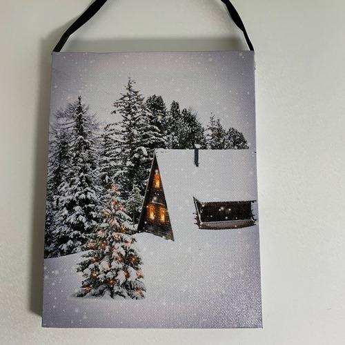 壁掛け インテリア クリスマス 雑貨 LEDライト LEDウォールアート クリスマスマーケット ◆在庫限り◆ 壁掛け型クリスマス飾り 壁掛けアート 流行 ハウス LEDキャンバス