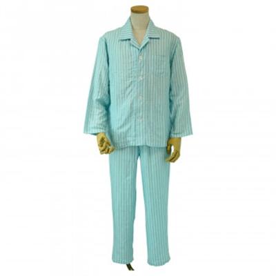 内野 UCHINO マシュマロガーゼ ホワイトストライプ メンズ パジャマ ブルー XLサイズ RPZ18402