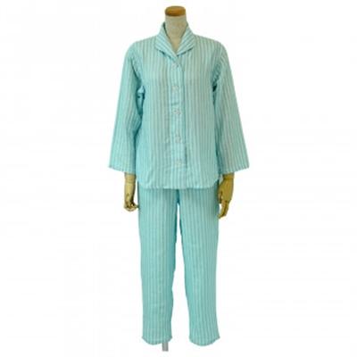 内野 UCHINO マシュマロガーゼ ホワイトストライプ レディス パジャマ ブルー Lサイズ RPZ18403