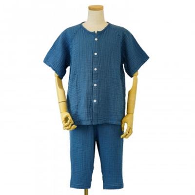 内野 UCHINO クレープガーゼ メンズ 半袖 パジャマ ブルー Mサイズ RPS14398