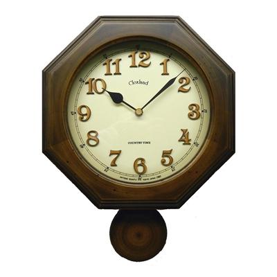 昔ながらのなつかしい振り子時計 数量限定 さんてる 日本製 レトロ 八角 植え文字 DQL635 電波外振り子 アンティークブラウン 販売期間 限定のお得なタイムセール