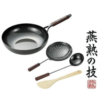 燕熟の技 鉄製いため鍋 30cm お玉・ジャーレン・竹べら付 EJT-1000