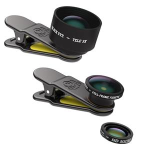 BLACK EYE(ブラックアイ) スマホ用クリップ式レンズ PRO KIT 魚眼&光学3倍望遠&HDマクロ レンズ3点セット PRO KIT PK001
