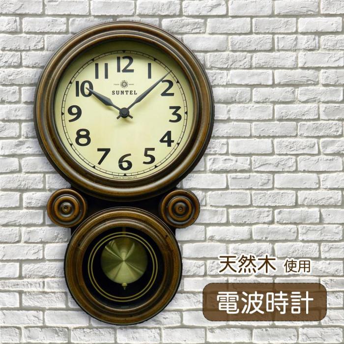 昔ながらのなつかしい壁掛け振り子時計 さんてる 日本製 ミニだるま DQL676 全店販売中 配送員設置送料無料 アンティークブラウン 電波振り子時計