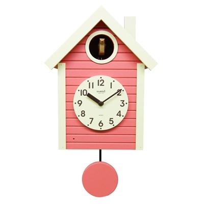 当店一番人気 ポッポ~ と時を知らせてくれる鳩時計 さんてる 日本製 手作り 鳩時計 超目玉 コーラルピンク SQ03-CP 北欧カラー