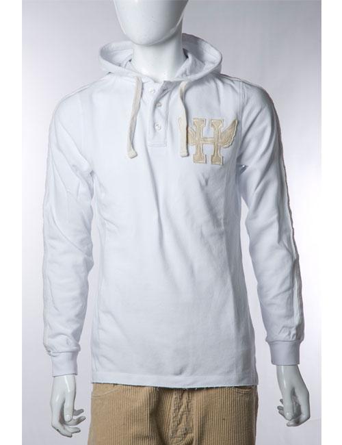 ハイドロゲン HYDROGEN ポロシャツ 長袖 フード付き メンズ 110024 ホワイト 10%OFFクーポンプレゼント