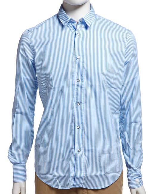 ハイドロゲン HYDROGEN シャツ 長袖 ストライプ メンズ 110418 SKULL ホワイト×ブルー 10%OFFクーポンプレゼント 目玉商品