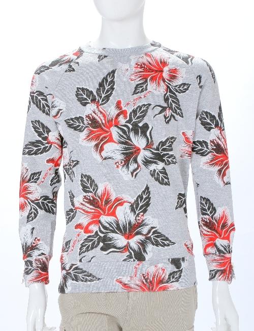ハイドロゲン HYDROGEN ハイドロゲン トレーナー 長袖 丸首 プルオーバー スウェット ハイドロゲン メンズ 160009 RED FLOWERS GREY 10%OFFクーポンプレゼント