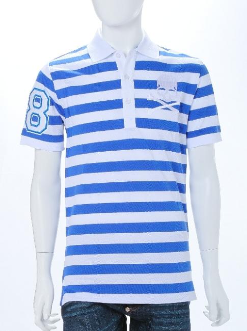 フィリッププレイン PHILIPP PLEIN ポロシャツ 半袖 メンズ SS15 HM355935 ホワイト×ブルー 楽ギフ_包装 送料無料 10%OFFクーポンプレゼント 目玉商品