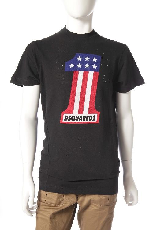 ディースクエアード DSQUARED2 Tシャツ 半袖 丸首 メンズ S71GD0313S22507 ブラック 送料無料 楽ギフ_包装 アウトレット目玉商品17AW 10%OFFクーポンプレゼント DSQ値下げ 2004値下げ