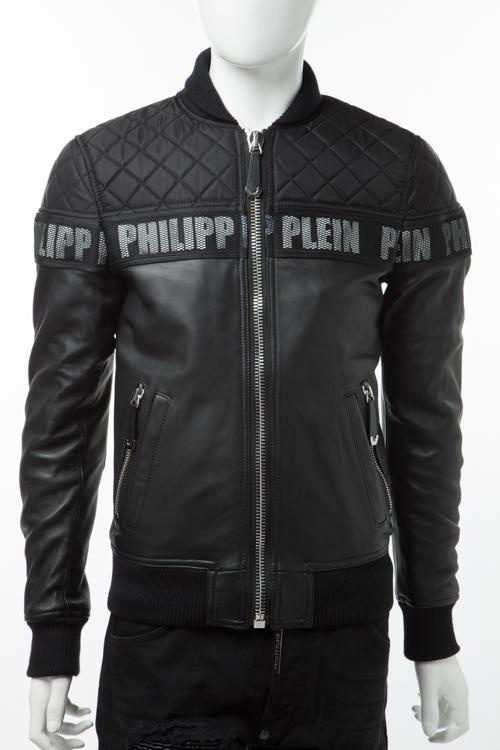 フィリッププレイン PHILIPP PLEIN レザーブルゾン レザージャケット アウター メンズ FW16 HM244001 ブラック 送料無料 10%OFFクーポンプレゼント2