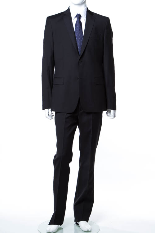 【期間限定10%OFFクーポン配布】ヴェルサーチコレクション VERSACE COLLECTION スーツ 2つボタン サイドベンツ シングル メンズ V100028 VT00833 ブラック 送料無料 アウトレット 10%OFFクーポンプレゼント 【ラッキーシール対応】