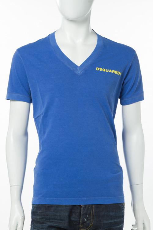 ディースクエアード DSQUARED2 Tシャツ 半袖 Vネック メンズ S74GD0203S20694 ブルー 送料無料 楽ギフ_包装 10%OFFクーポンプレゼント 【ラッキーシール対応】